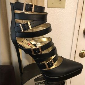 Black Strappy Stilettos NWT
